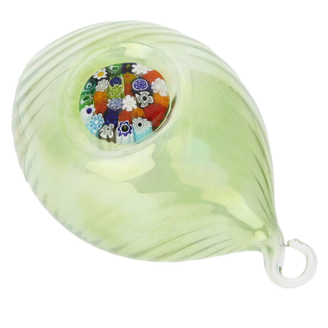 Murano Glass Millefiori Christmas Ornament - Green