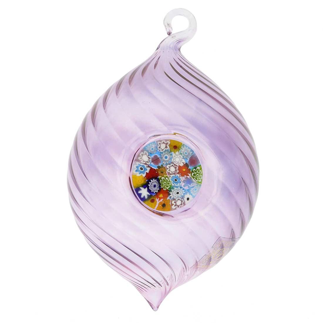 Murano Glass Millefiori Christmas Ornament - Purple