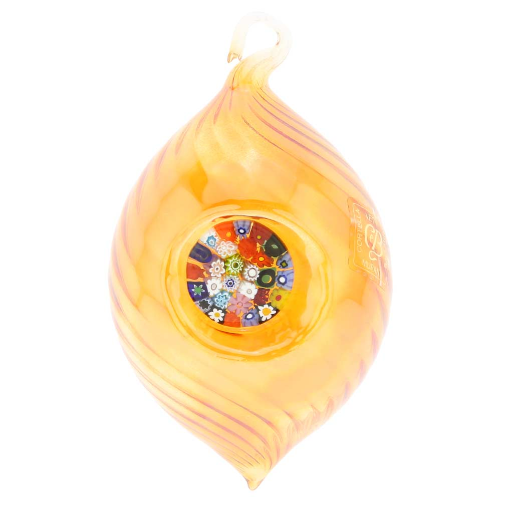 Murano Glass Millefiori Christmas Ornament - Amber Gold