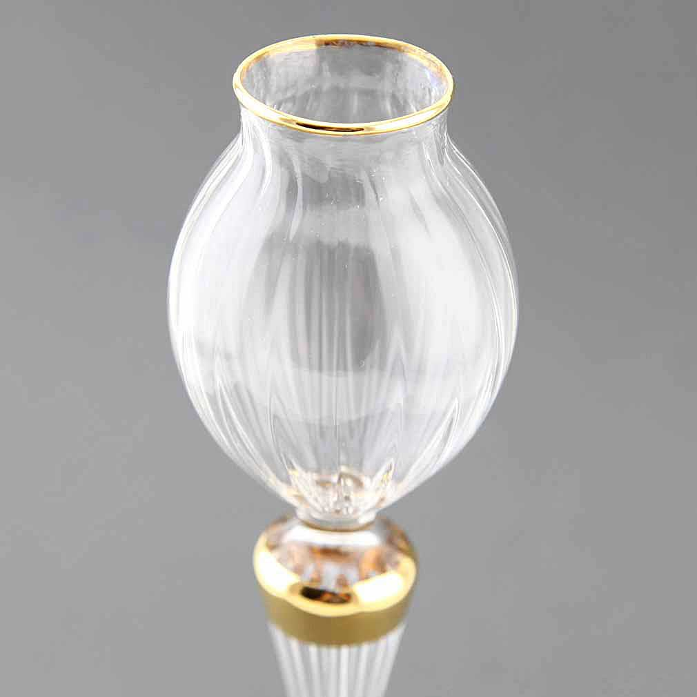 Cristallo and Gold Tall Murano Glass Candle Holder
