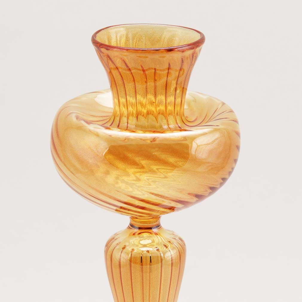 Amber Gold Murano Glass Candle Holder