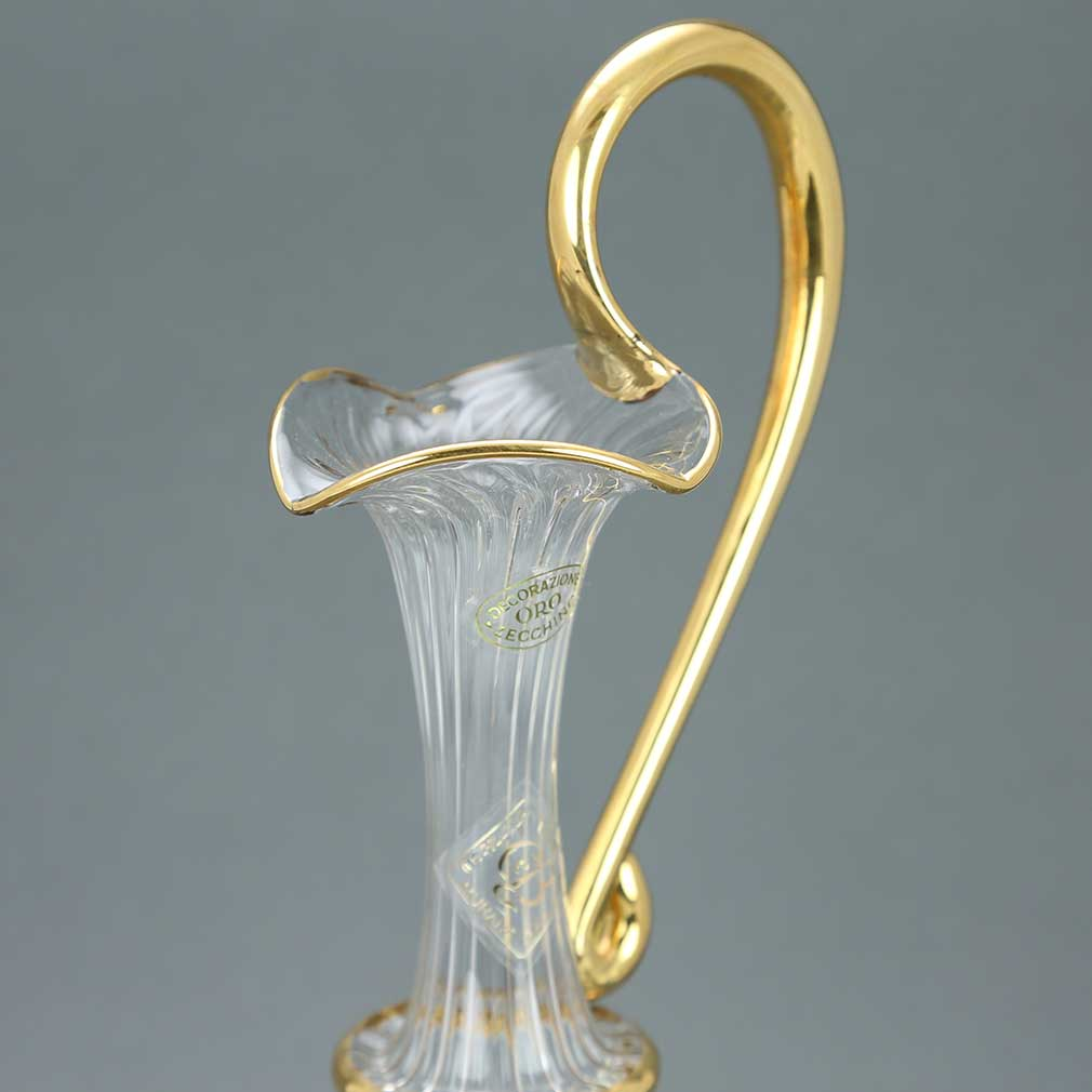 Cristallo and Gold Murano Glass Carafe