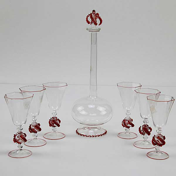 Murano Glass Decanter Set With Bottle-Shaped Carafe