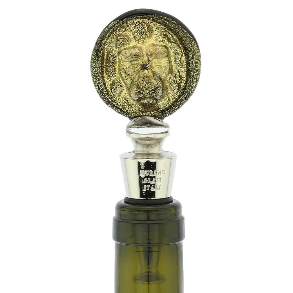 Murano Glass Lion Head bottle stopper - Black