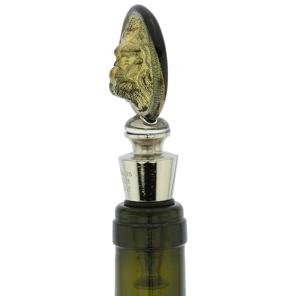 Murano Glass Lion Head Bottle Stopper - Black