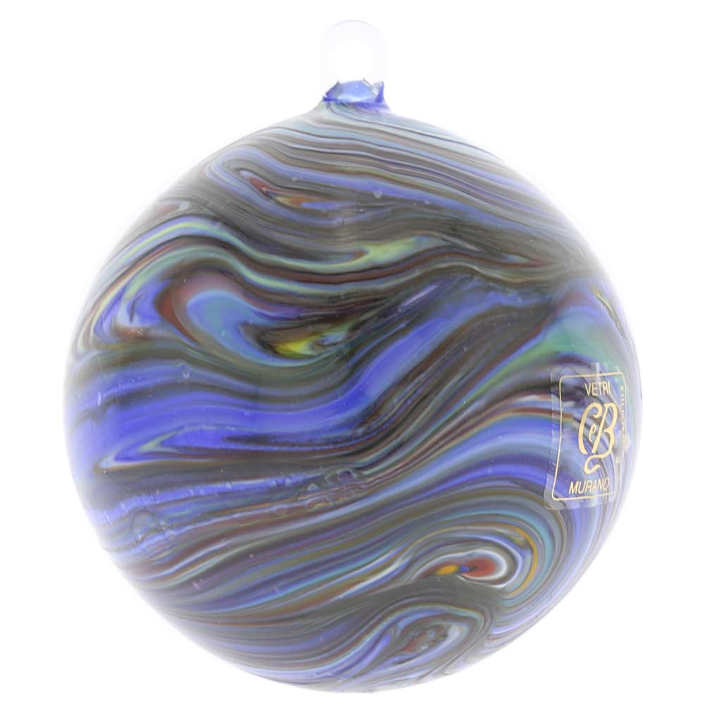 Murano Glass Chalcedony Christmas Ornament - Blue Swirl