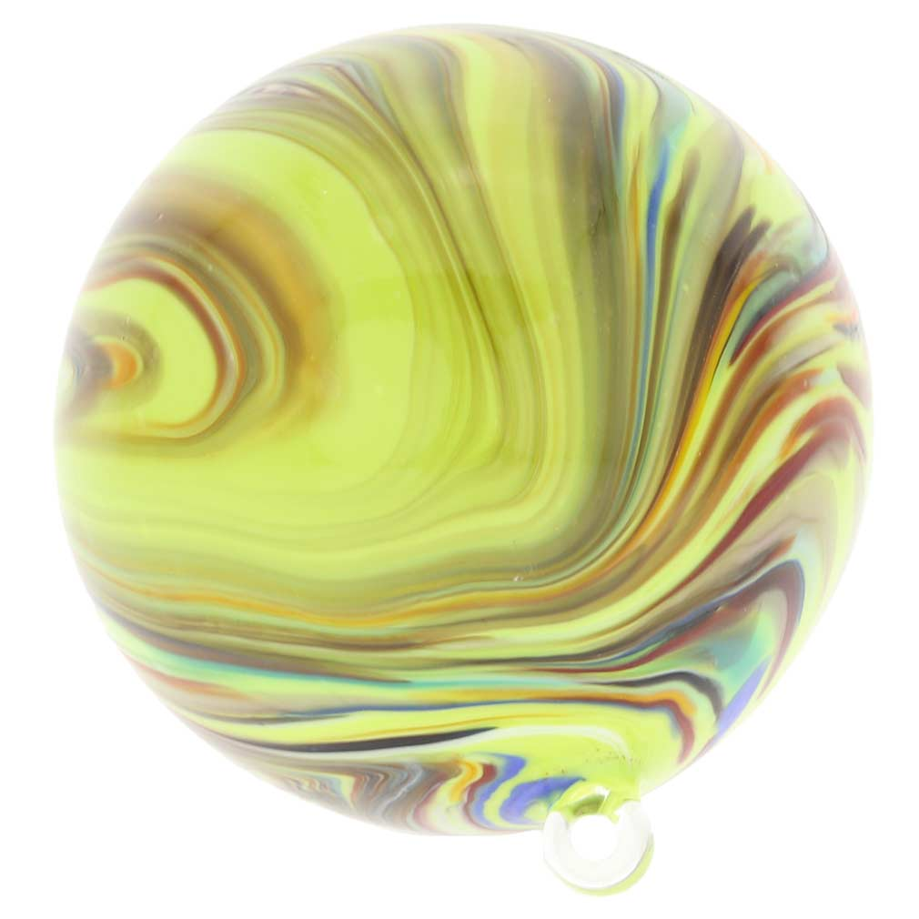 Murano Glass Chalcedony Christmas Ornament - Green Swirl