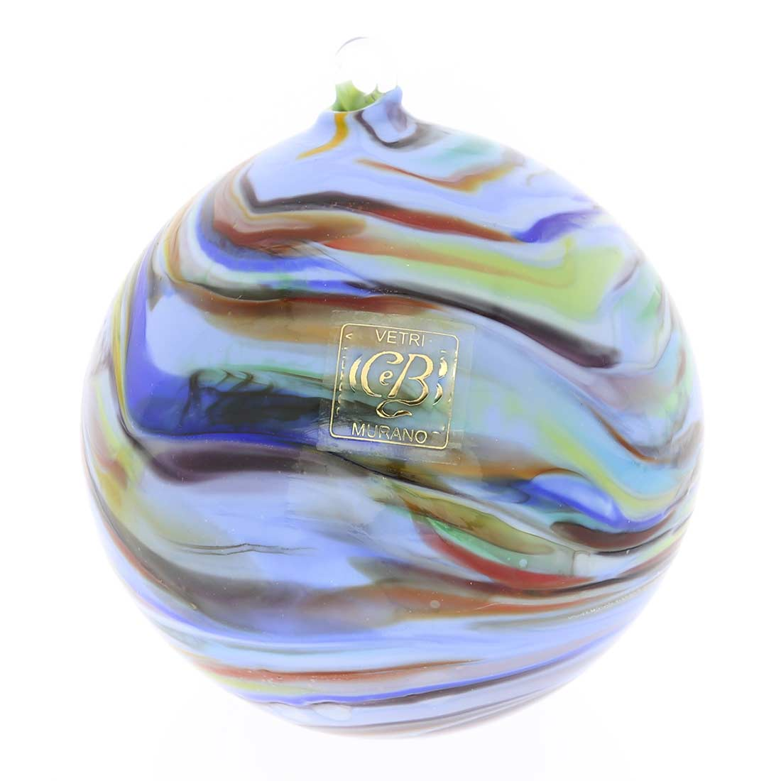 Murano Glass Chalcedony Christmas Ornament - Periwinkle