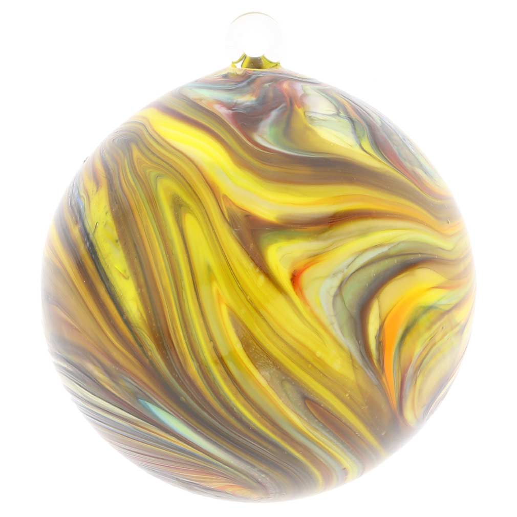 Murano Glass Chalcedony Christmas Ornament - Yellow Swirl