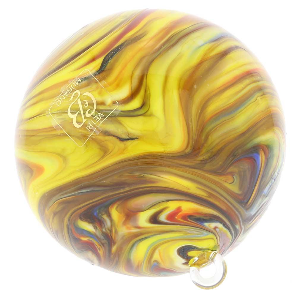 Murano Glass Chalcedony Christmas Ornament - Yellow Swirl