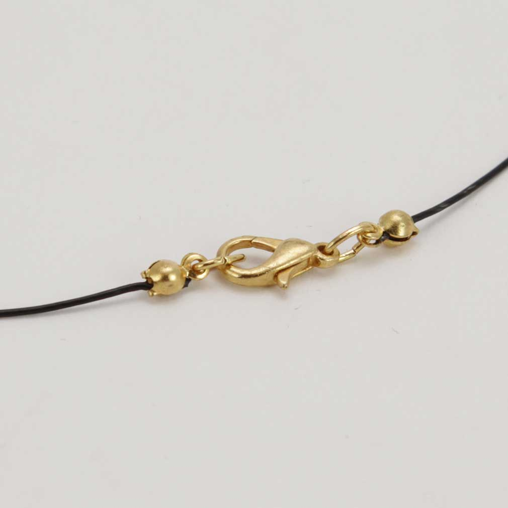 Three Balls Murano Necklace - Gold Leaf