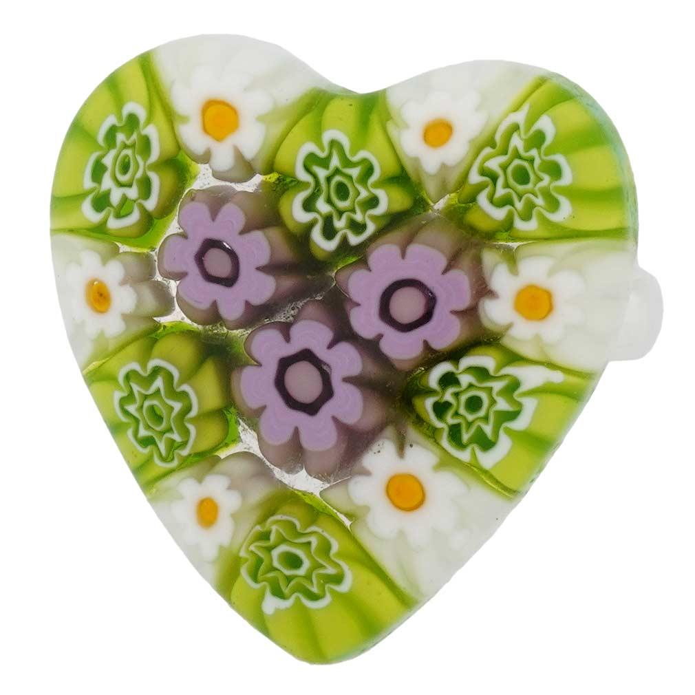 Arlecchino Murano Millefiori Heart Ring - Blue