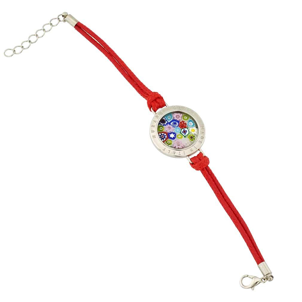 Lauretta Murano Glass Millefiori Bracelet - Burgundy
