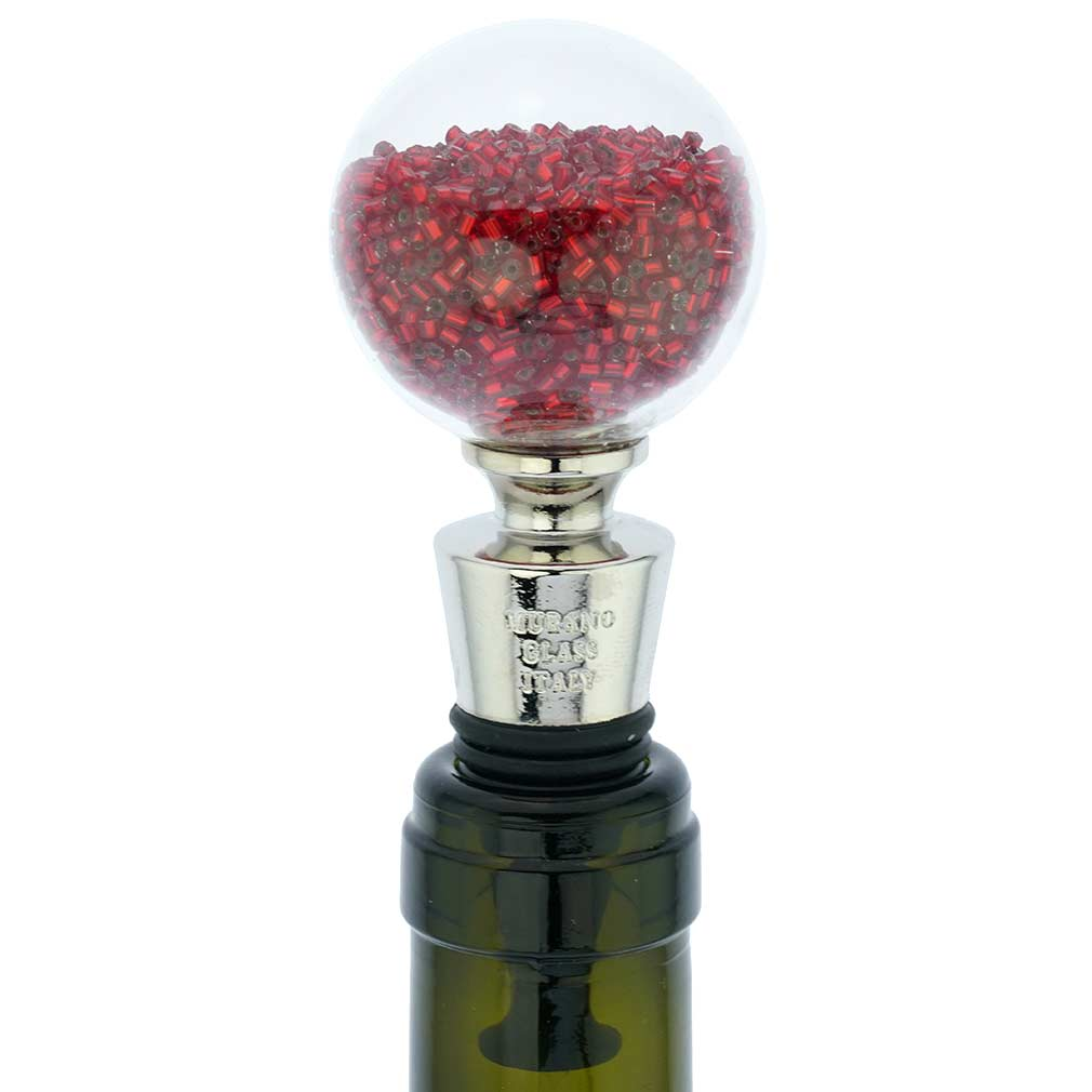Murano Glass Sparkly Beads Bottle Stopper - Red