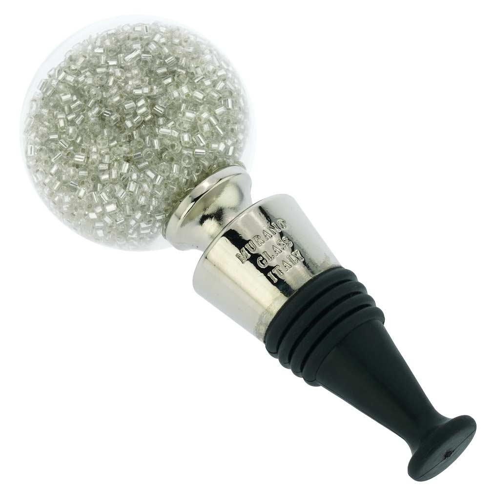 Murano Glass Sparkly Beads Bottle Stopper - Silver White
