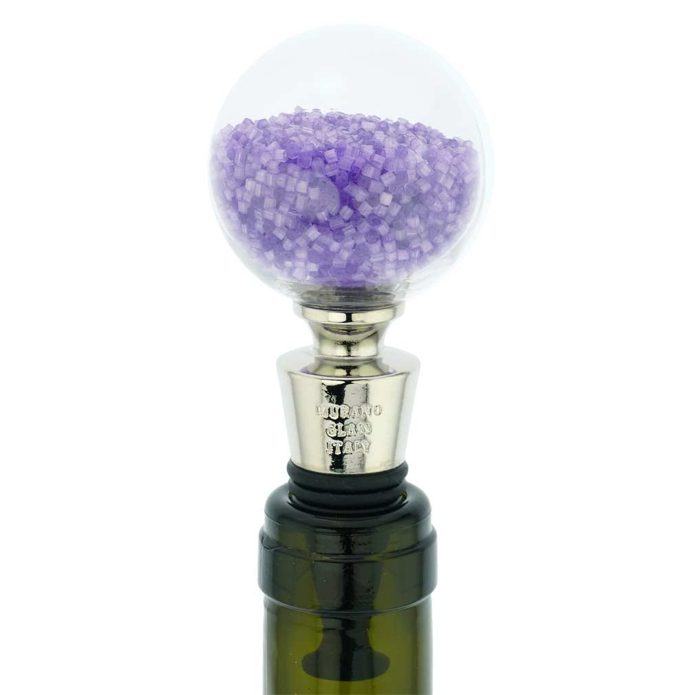 Murano Glass Sparkly Beads Bottle Stopper - Amethyst
