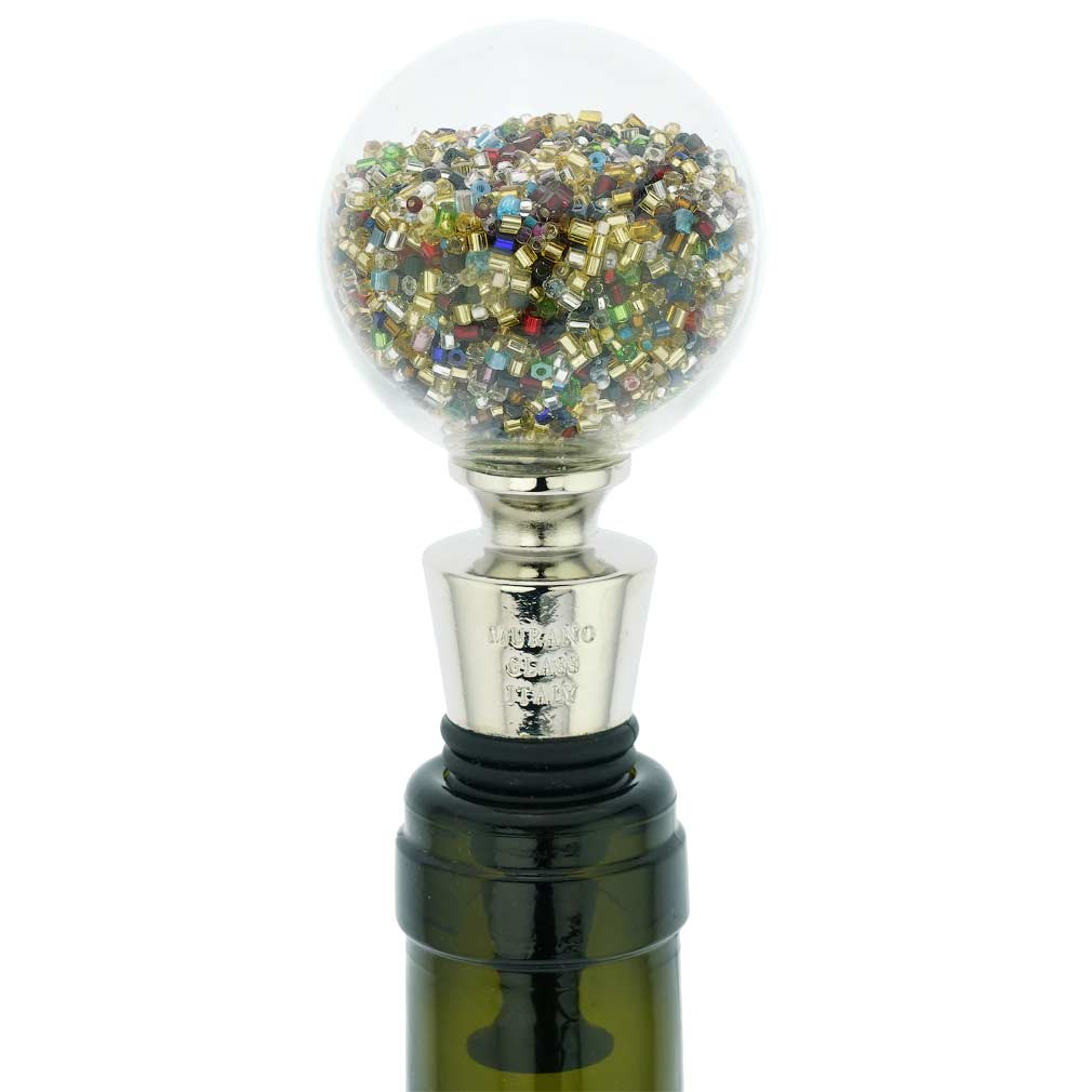 Murano Glass Sparkly Beads Bottle Stopper - Multicolor