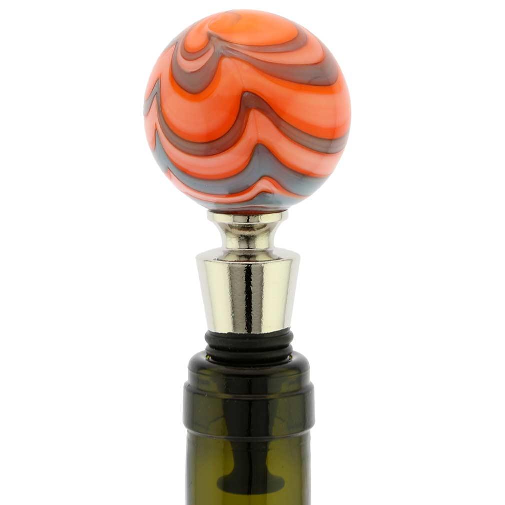 Murano Glass Bottle Stopper - Festooned Orange