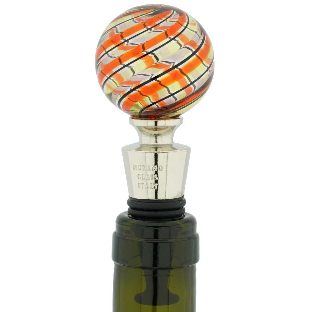 Murano Glass Bottle Stopper - Green Filigrana