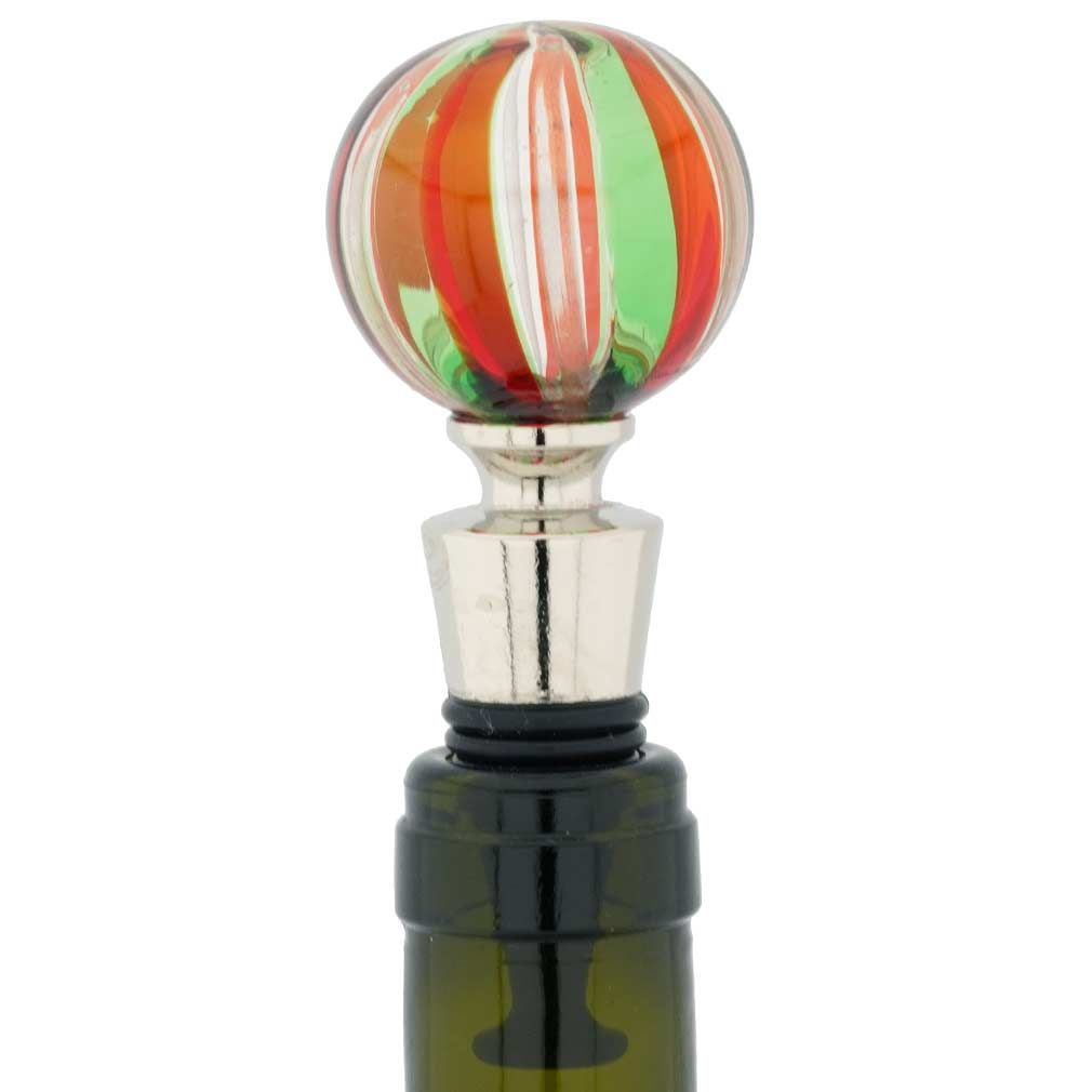 Murano Bottle Stopper - Rose Swirls
