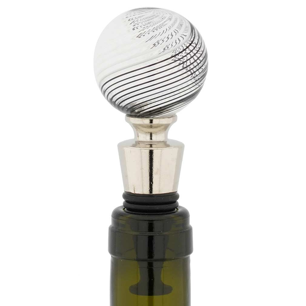 Murano Glass Bottle Stopper - Black Filigrana