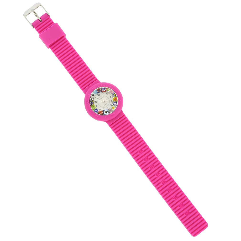 Murano Millefiori Watch with Rubber Band - Pink