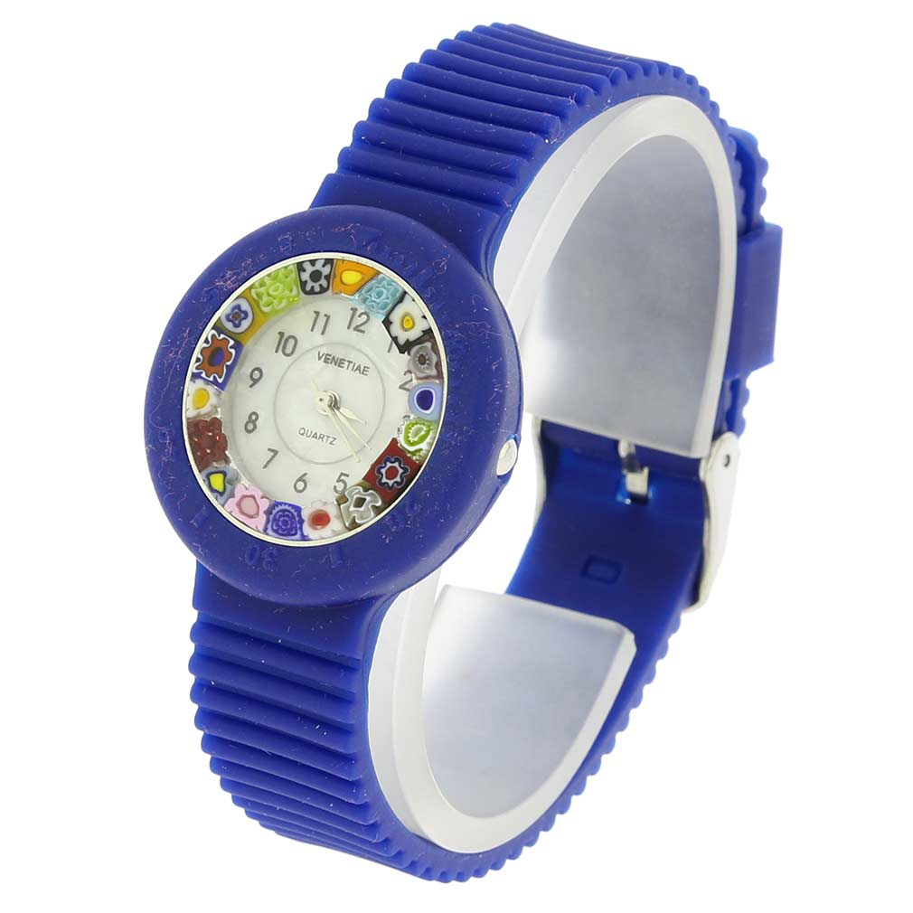 Murano Millefiori Watch with Rubber Band - Navy Blue