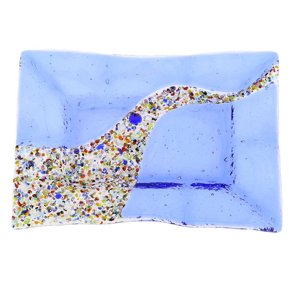 Murano Klimt Rectangular Decorative Plate - Blue