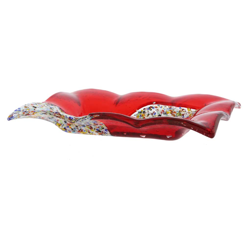 Murano Klimt Rectangular Decorative Plate - Red