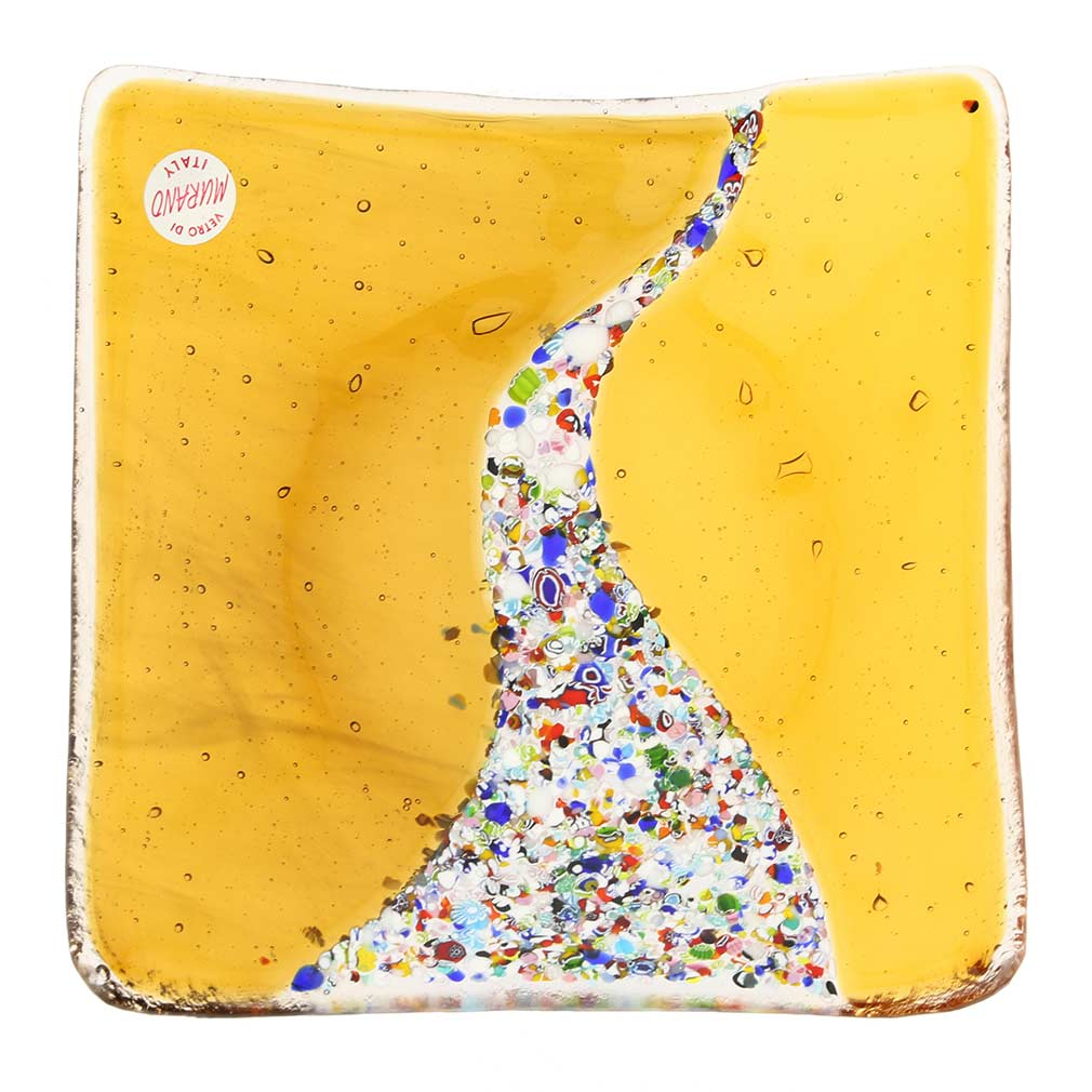 Murano Klimt Square Decorative Plate - Amber