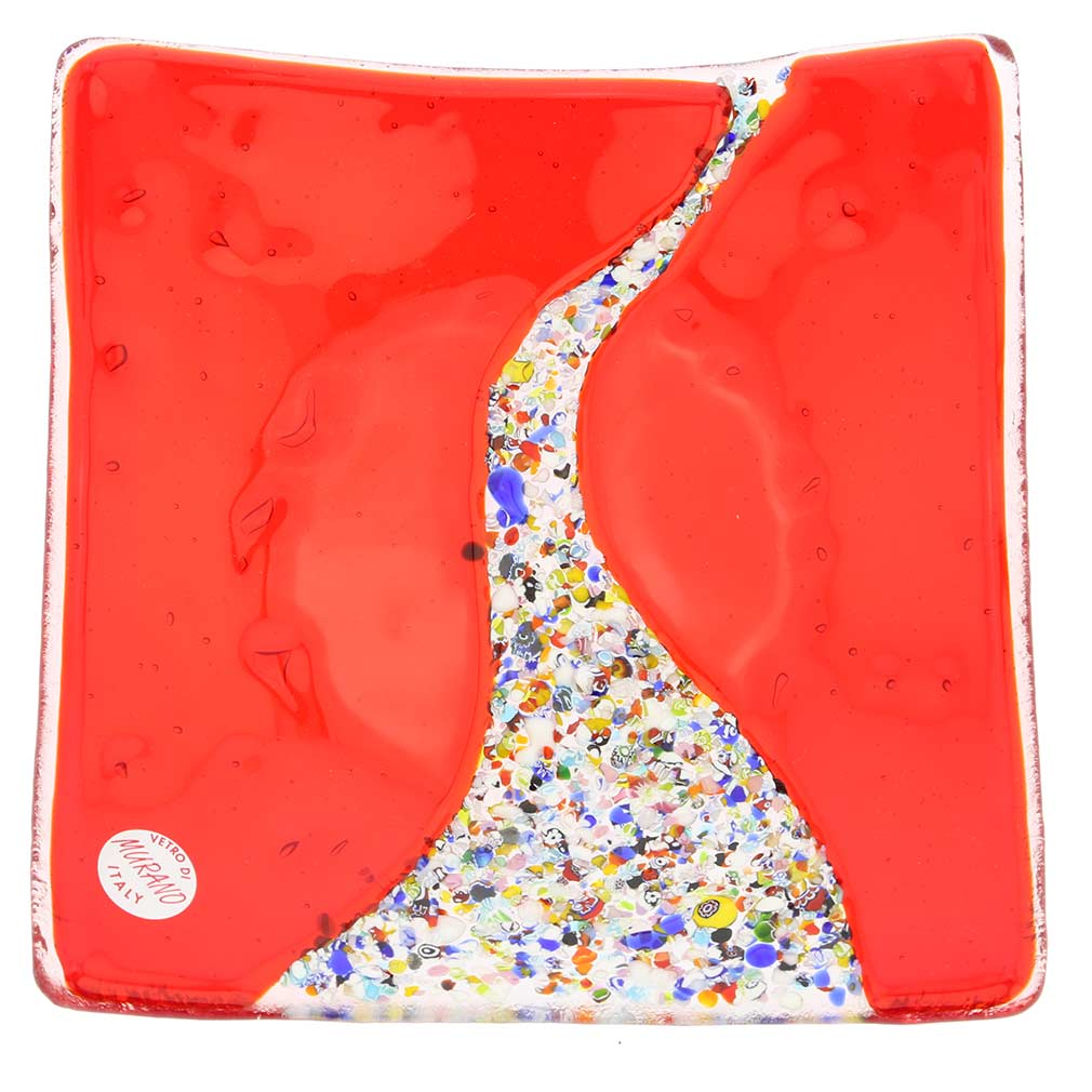 Murano Klimt Square Decorative Plate - Red