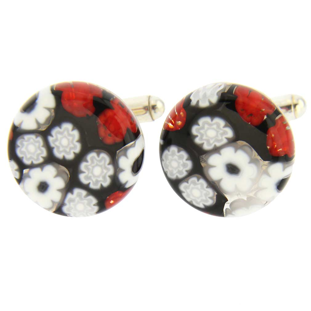 Venetian Glass Millefiori Cufflinks - Red and Black