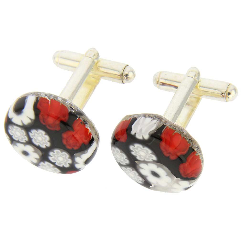 Venetian Glass Millefiori Cufflinks - Red and Black