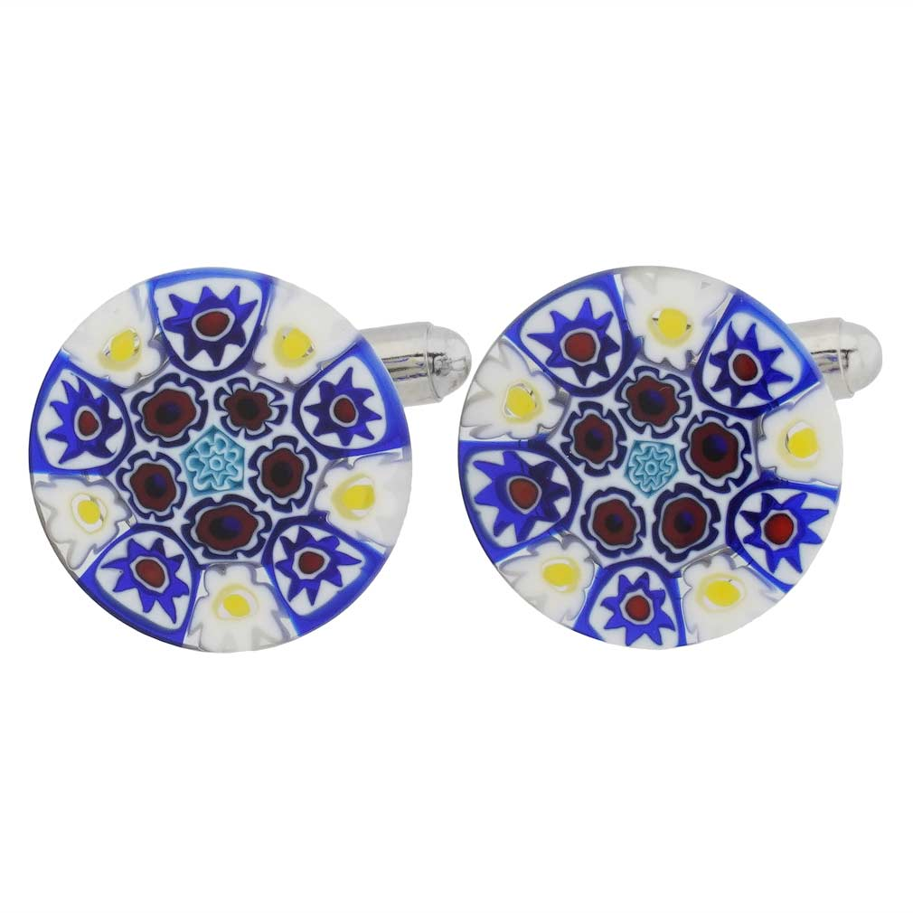 Murano Millefiori Cufflinks - Black and White