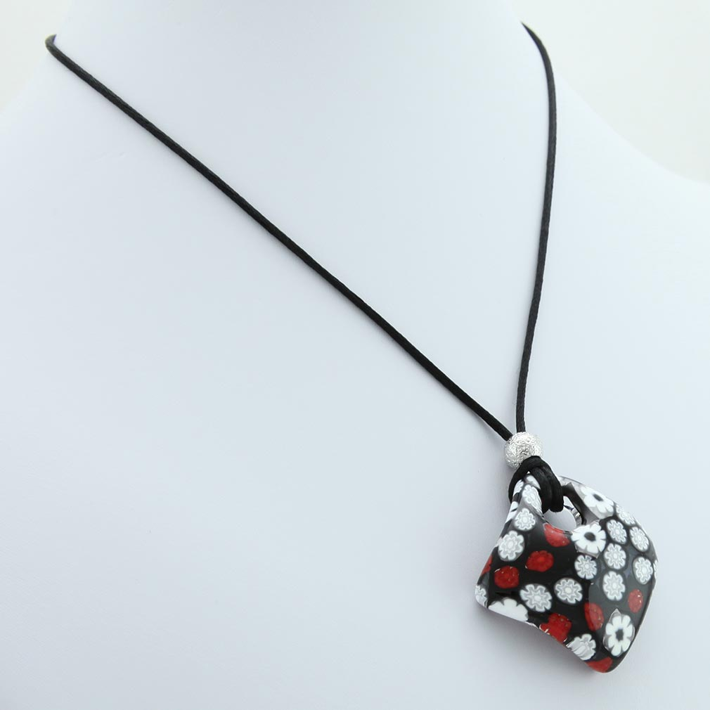 Arlecchino Murano Millefiori Pendant - Red and Black