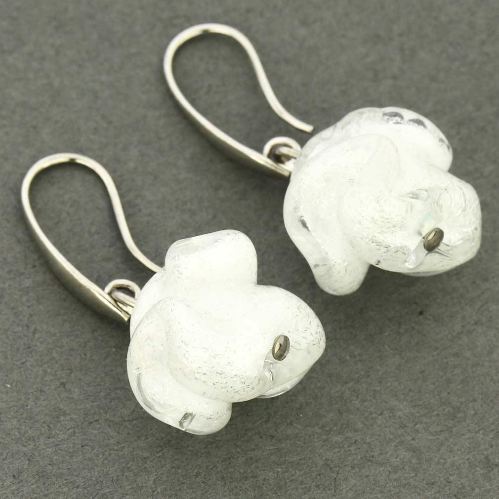 Murano Rose Flower Earrings - White