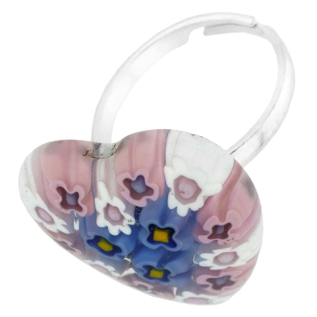 Murano Millefiori Heart Ring - Pink