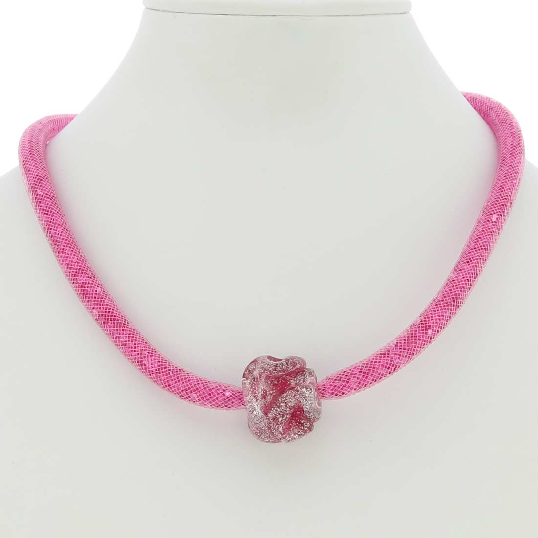 Murano Rose Flower Necklace - Pink