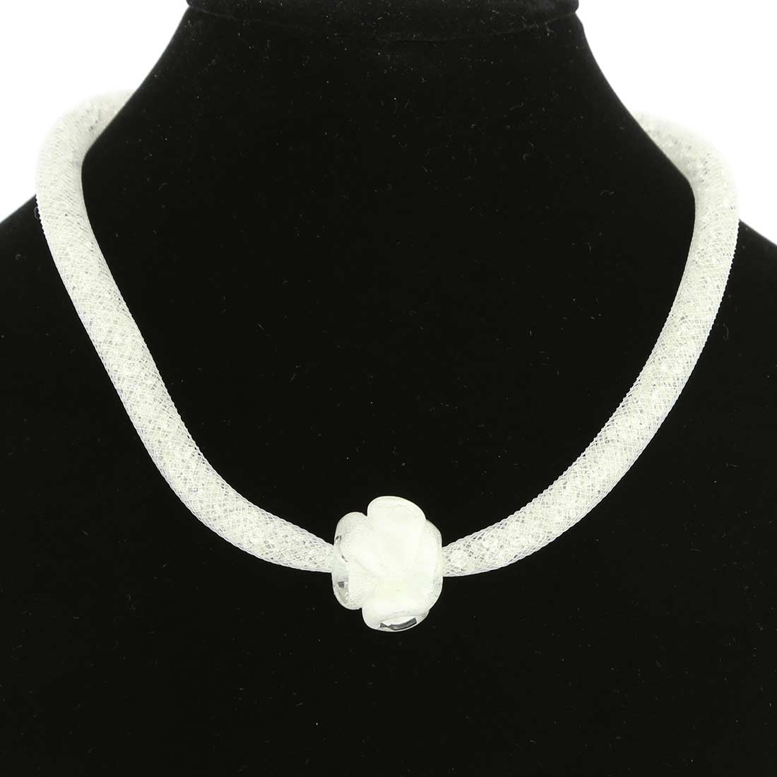 Murano Rose Flower Necklace - White