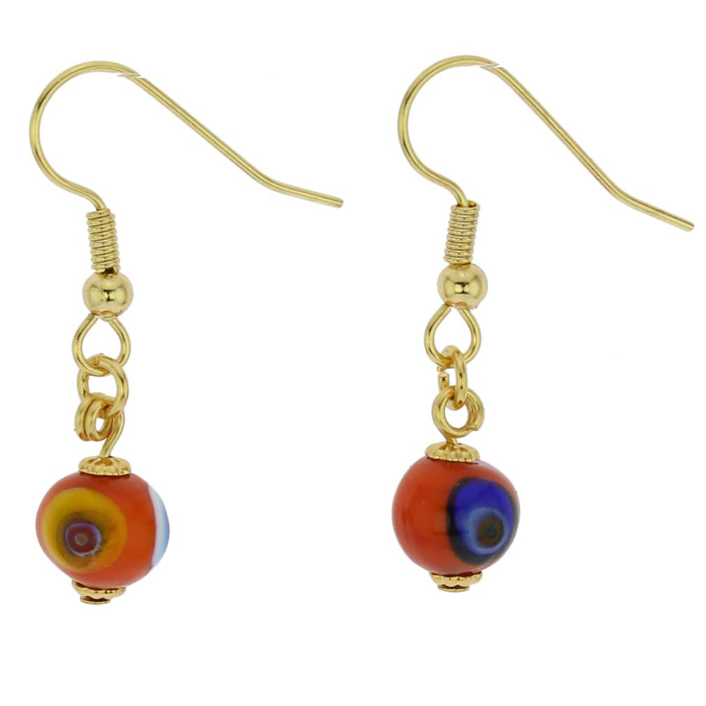 Murano Mosaic Orange Ball Earrings