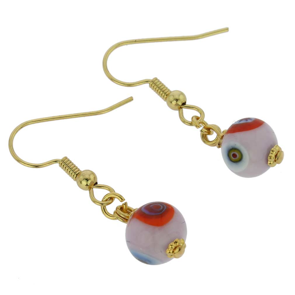 Murano Mosaic Pink Ball Earrings