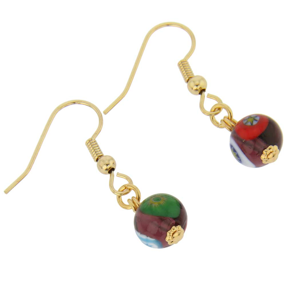 Murano Mosaic Purple Ball Earrings