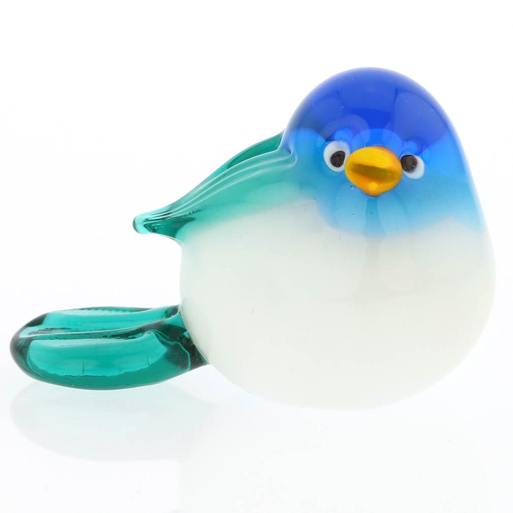 Murano Glass Baby Bird - Blue And Turquoise