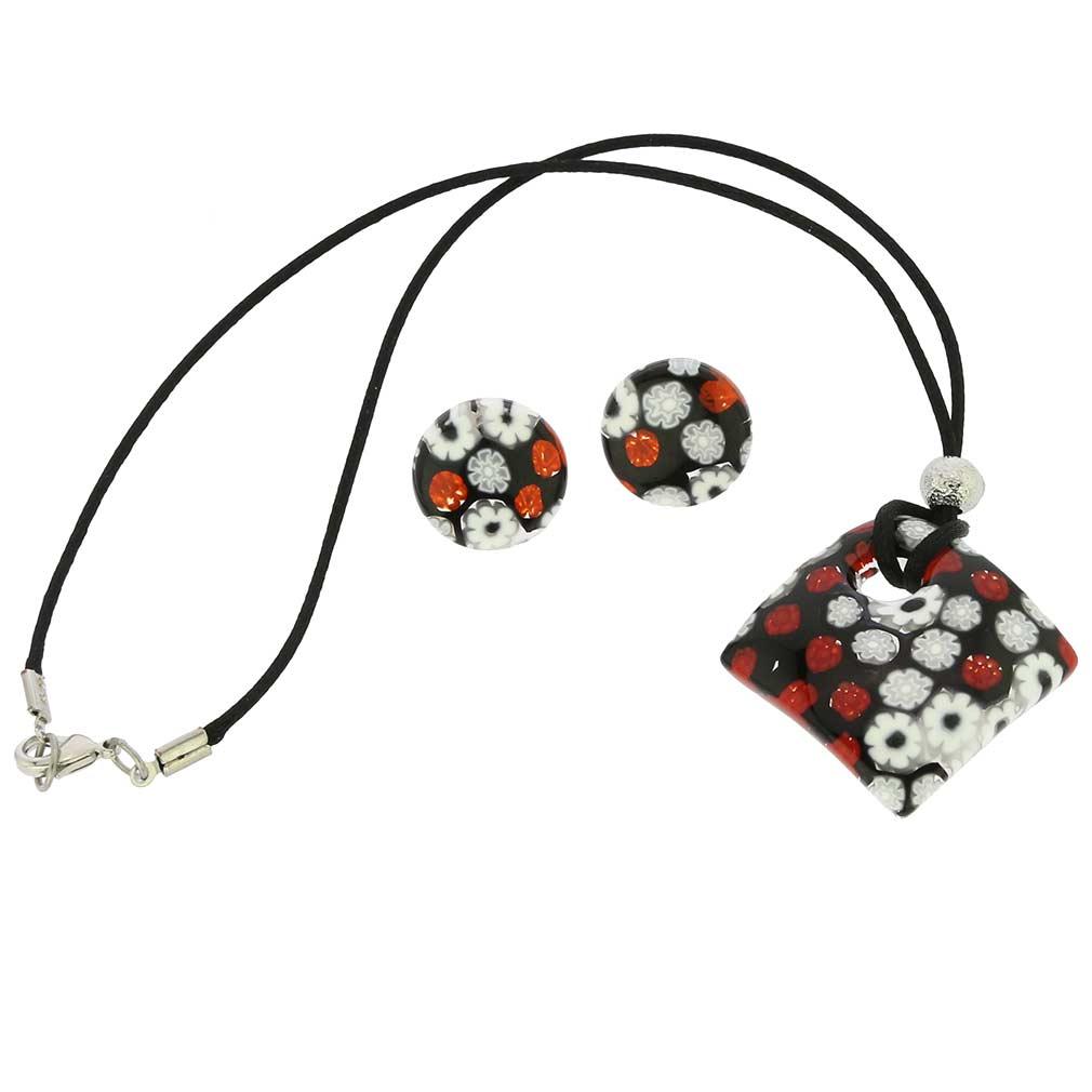Arlecchino Murano Millefiori Jewelry Set - Red and Black