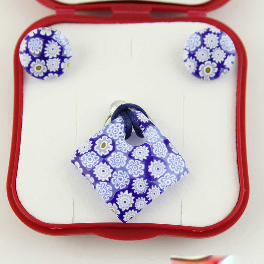 Arlecchino Murano Millefiori Jewelry Set - Blue