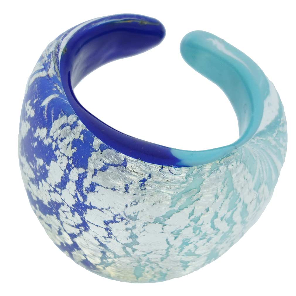 Murano Ring In Domed Design - Blue and Aqua