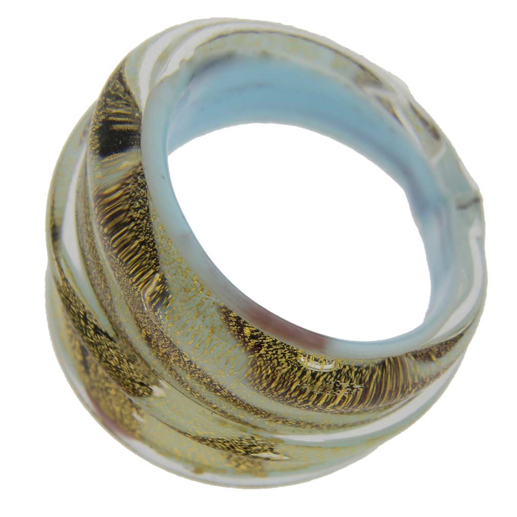 Murano Swirls Ring In Domed Design - Burgundy White