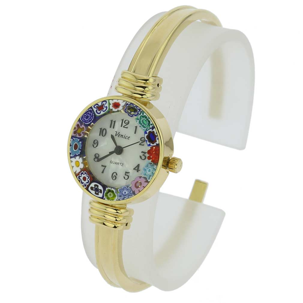 Murano Millefiori Bangle Watch - Gold