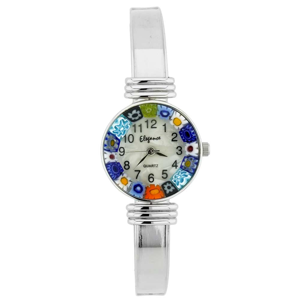 Murano Millefiori Bangle Watch - Silver
