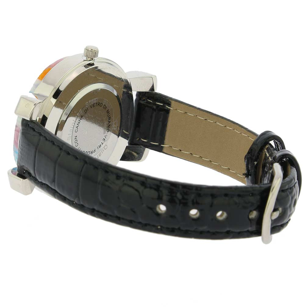 Serena Murano Millefiori Watch With Leather Band - Black